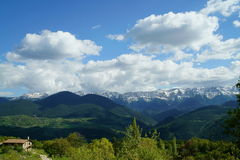 Landscape of Cadi Mountain from Travesseres. A Landscape of the mountain of Cadi, in the Pyrenees, taken from the village of Travesseres (Catalonia Royalty Free Stock Images