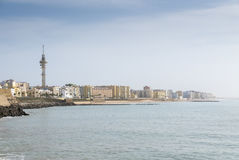 Landscape of Cadiz waterfront and town from the beach. Spain Royalty Free Stock Photography