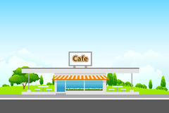 Landscape with cafe building Stock Images