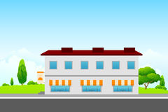 Landscape with cafe building Royalty Free Stock Image