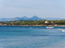Landscape of Cala Ginepro beach in the gulf of Orosei Sardinia  Royalty Free Stock Images