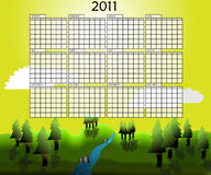 Landscape calender of year 2011 Royalty Free Stock Images
