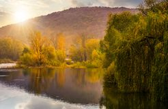 Landscape with calm river in autumn at sunset. Beautiful mountainous scenery with red and yellow foliage Royalty Free Stock Photo