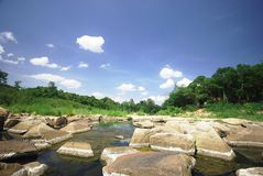 Landscape with calm river with stones Royalty Free Stock Photography