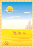 Landscape with camels. Arabic landscape with camels and ornamental Vector Illustration