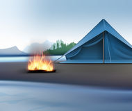 Landscape with Camping zone. Vector rural landscape with river, mountains, sky, blue tent and bonfire Royalty Free Stock Image