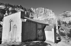 Landscape with canyon and Bartolome hermitage in Soria, Spain. Ucero Stock Images