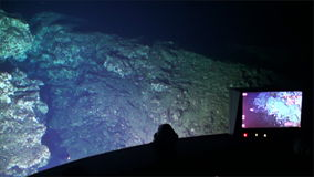 Landscape of canyon, cave view from submarine underwater in Pacific Ocean. stock video footage