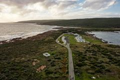 Landscape of Cape Leeuwin in Western Australia viewed from the top of the lighthouse. During the sunset royalty free stock photography