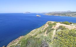 Landscape of Cape Sounion Attica Greece royalty free stock photography