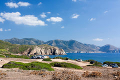 Landscape in Capo Pecora, Sardinia, Italy. The view on the sea and mountains in summer in Capo Pecora, Sardinia, Italy Stock Image