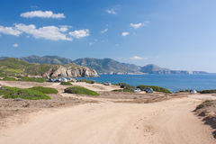 Landscape in Capo Pecora, Sardinia, Italy. The view on the sea and mountains in summer in Capo Pecora, Sardinia, Italy Stock Photography