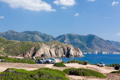 Landscape in Capo Pecora, Sardinia, Italy. The view on the sea and mountains in summer in Capo Pecora, Sardinia, Italy Stock Photos