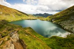 Landscape from Capra Lake in Romania and Fagaras m Royalty Free Stock Photography