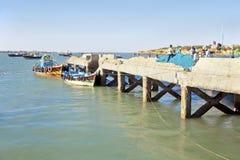 Teabreak for fishnet menders Dwarka stock photos