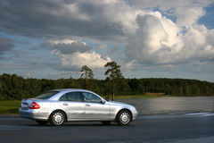 Landscape with the car. Royalty Free Stock Photo