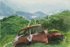 Landscape with car - watercolour. Landscape with a red car. Hand painted with watercolours royalty free illustration