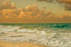 Landscape of Caribbean sea. At sunset Stock Photography