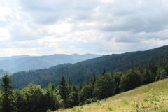Parascha mountain range near the town of Skole, Lviv region. Ukraine. Landscapes of wild mountain nature in the middle of summer. Royalty Free Stock Image