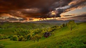 Landscape on Carpathian mountain in the spring time , Romania Transylvania.  royalty free stock image