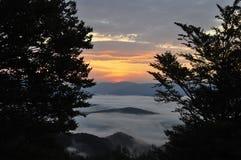 Landscape in Carpathian mountains (Ukraine). Just before sunrise in Carpathian mountains Stock Images