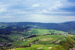 Landscape of a Carpathians mountains with grassy valley, fir-tre Stock Photo