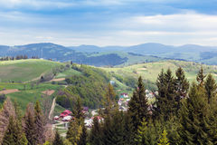 Landscape of a Carpathians mountains with infrastructure Stock Photography