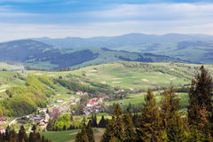 Landscape of a Carpathians mountains with infrastructure Royalty Free Stock Photography