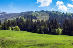 Landscape of Carpathians mountains with ski lift Royalty Free Stock Images