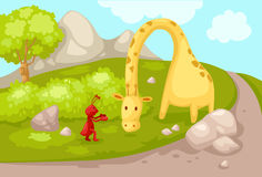 Landscape cartoon giraffe with ant Stock Images