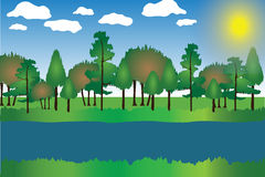 Landscape Cartoon Vector Illustration with Trees ,Grass, River, Sky, Clouds and Sun. Landscape Cartoon Illustration with Trees ,Grass, River, Sky, Clouds and Stock Image