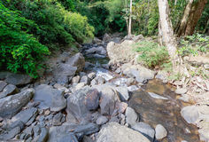 Landscape of cascade and water stream with the sunbeam in s Royalty Free Stock Photo