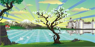 Landscape-the castle and the cherry tree over the lake Stock Image