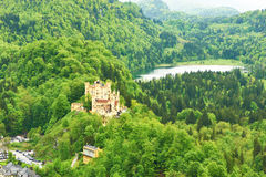Landscape with castle of Hohenschwangau in Germany Stock Images