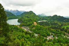 Landscape with castle of Hohenschwangau in Germany Stock Photos