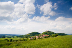 Landscape with castle Leuchtenburg Stock Photo