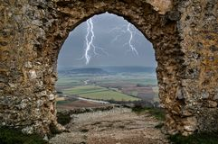 Landscape from the castle on a stormy day in Soria. Spain stock image