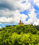 Landscape with Castle. A summer landscape in the old town of Poppi and its medieval castle in Tuscany, Italy Royalty Free Stock Photography