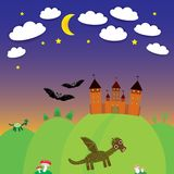 Landscape with castle wizard, Cartoon Dragon, bats Stock Photos