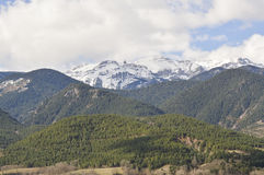 Landscape of the Catalan Pyrenees, Cerdanya, Girona, Spain. Beautiful snowy mountains of the Catalan Pyrenees, in the spring. Image taken from Baltarga, Bellver Stock Image