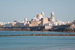 Landscape of the Cathedral of Cadiz Royalty Free Stock Photos
