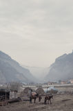 Landscape of the Caucasian mountain village with farm, horses and hay, settlement, in the gorge during the fog in gray Royalty Free Stock Photography