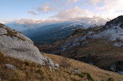 The landscape of the Caucasus Mountains at sunset. Russia, Adygea Stock Photos
