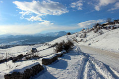 Landscape of Caucasus mountains. Caucasus mountains and winter road near city of Ganja, Azerbaijan Royalty Free Stock Photos