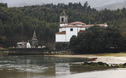 Landscape with cemetery and river in Barro, Asturias. Spain Royalty Free Stock Images