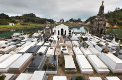 Landscape with cemetery and river in Barro, Asturias. Spain Stock Images