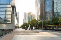 The landscape in the center of city, modern commercial background. A sunny day street road urban office business architecture building asphalt construction royalty free stock photography