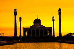 Landscape of Center Mosque Songkhla in evening,Thailand. Place for Make Merit in Muslim Stock Photos