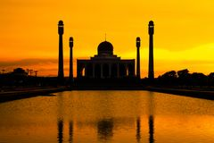 Landscape of Center Mosque Songkhla in evening,Thailand. Place for Make Merit in Muslim Royalty Free Stock Photo