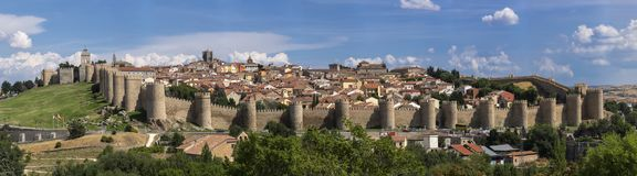 Landscape of the center of the walled city of Avila, a World Heritage Site declared by UNESCO. Photograph taken in Avila from the Royalty Free Stock Photo